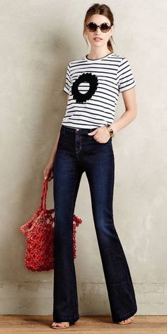 Outfit Jeans, Jean Outfits, Casual Outfits, Fashion Outfits, Fashion Moda, Womens Fashion, Look Jean, Denim Flares, Looks Chic