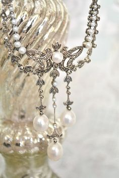 vintage necklace with sparkles, pearls and gorgeousness! Delicate feminine touches a beautiful bride. https://www.etsy.com/shop/SacredbyBrandy