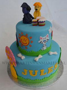 Baby TV taart met geboetseerde Woezel en Pip.