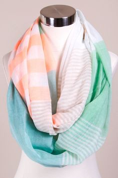 Vivid Neon Peach, White, Green, Blue & Tan Striped Infinity Cowl Scarf sold by SimplyMeBoutique.com | $20 ships FREE! | #ShopSimplyMeBoutique #SimplyMeBoutique #SimplyMe #SMB #ShopSimply #Boutique #BoutiqueShopping #OOTD #Fashion #WIW #FreeShipping #Fall #Scarf #Scarves