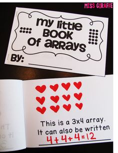 Arrays practice fun! My little book of arrays to practice repeated addition - so fun! Lots more great ideas here!