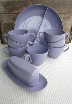 Vintage Lilac Melmac Cups Divided Bowl Butter Dish