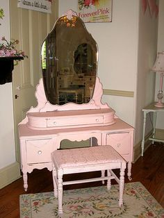 Absolutely love this for my bedroom - but painted charcoal gray and distressed. The baby pink is a no go.