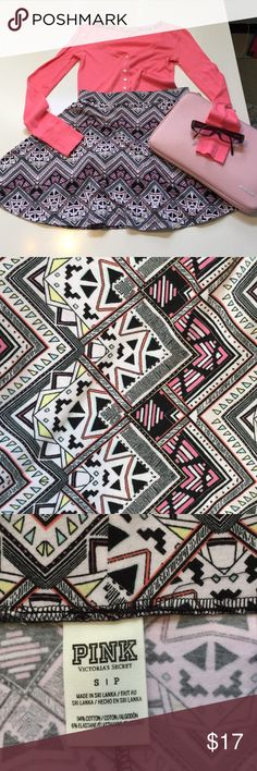 VS Pink mini circle skirt  VS Pink, Sz S, funky print, mini circle skirt. A tribal or Aztec print in beautiful shades of pink, yellow, and mint green. 94% cotton                & 6% elastane, 15in in length, waist flat 13in, plenty of stretch. Too cute! Pink top in pic 1 is VS, Sz XS (PJs), pinks are not a perfect match, but who cares, it looks super cute together ( sold as a set) PINK Victoria's Secret Skirts Mini