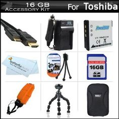 """16GB Accessories Kit For Toshiba Camileo BW10 Waterproof HD Video Camera Includes 16GB High Speed SD Memory Card + Extended Replacement (900 maH) PX1686 Battery + Ac/Dc Travel Charger + Mini HDMI Cable + Hard Case + FLOAT STRAP + 7"""" Flexible Tripod + More (Electronics)  http://www.amazon.com/dp/B005LRSIQ0/?tag=goandtalk-20  B005LRSIQ0"""