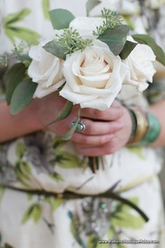 Bridesmaid Bouquet of Roses and Green Seeded Eucalyptus - The French Bouquet - Amanda Geier Photography
