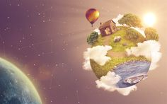 Download wallpapers planet, space, air balloon, sun