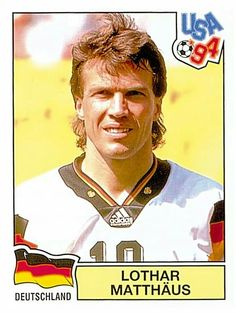 Lothar Matthias of Germany. 1994 World Cup Finals card. Uefa Football, Football Icon, National Football Teams, Football Design, World Football, Soccer World, Football Players, Football Stickers, Football Cards