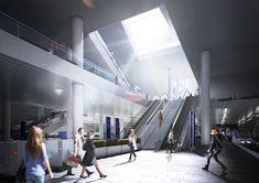 Gangnam Intermodal Transit Center – NORTHPOINT Concept Architecture, Modern Architecture, Render Image, Modern House Facades, Metro Station, House Elevation, Facade House, Pedestrian, Train Station