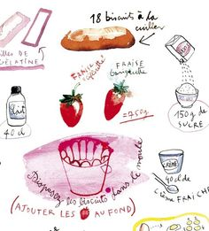 adorable french cake recipe... in watercolor!