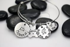 Hand Stamped Mommy / Birth Stats Expandable by MyHeroCreations