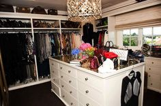 The Coveteur: Khloe Kardashian - Amazing walk-in closet design with Ironies Asilah Chandelier, white ...