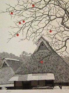 Remaining Persimmons, by Tanaka Ryohei -- Japanese Etching Print, 2005