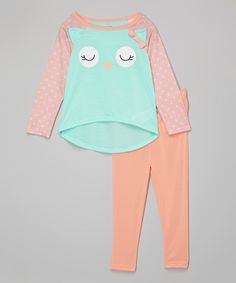 Look what I found on #zulily! Aqua & Peach Owl Pajama Set - Infant, Toddler & Girls by Candlesticks #zulilyfinds