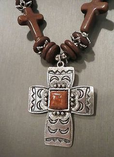 Cowgirl Bling Gypsy Southwestern Silver CROSS charms Browns necklace set our prices are WAY BELOW RETAIL!  ALL JEWELRY SHIPS FREE! baha ranch western wear ebay seller id soloedition www.baharanchwesternwear.com
