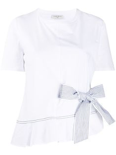 White and navy blue cotton striped side bow detail T-shirt from sandro paris featuring a striped pattern, stitching details, a flared style, a bow on the front, a round neck and short sleeves. Sandro, World Of Fashion, Fendi, Bathing Suits, Your Style, Stitching, Underwear, Women Wear, Short Sleeves