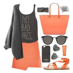 """""""No bad vibes!!!"""" by sanela-enter ❤ liked on Polyvore featuring New Look, Billabong, Breckelle's, Balmain, Betsey Johnson, Clinique and Rebecca Minkoff"""