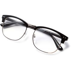 Black Open Frame Silver Trim Glasses ❤ liked on Polyvore featuring accessories, eyewear and eyeglasses
