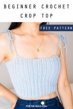 Fashion Sewing, Crochet Fashion, Diy Fashion, Crochet Bandeau Tops, Crochet Tops, Crochet Bikini Pattern, Crochet Shirt, Crochet Dresses, Diy Crochet Clothes