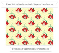 FreePastel Light Yellow Chevron Large Ariel Pattern Paper - The Little Mermaid