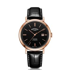 Rotary Watches, Stainless Steel Case, Rose Gold Plates, Fathers Day Gifts, Black Leather, Windsor, Gift Guide, Hands, Accessories