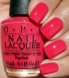 OPI She's a Bad Muffuletta! is a hot red crème with a hint of pink. // @kelliegonzoblog