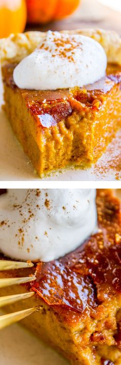 This is literally the best pumpkin pie you will ever have! It's a perfect pumpkin pie recipe to begin with, but then we go and blow torch it to get that crackly crème brulée topping. Guys. I thought I