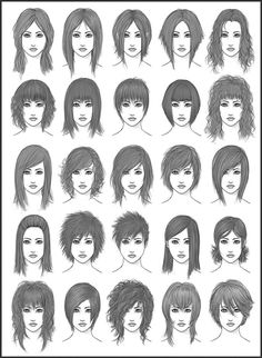 Women's Hair - Set 2 by ~dark-sheikah on deviantART... I like this, though not the boy cuts.  This is a great  reference for hair styles, as I usually run out of ideas... =D
