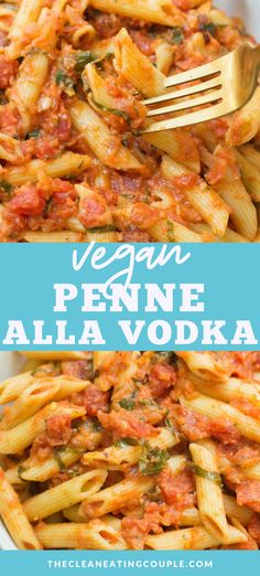 This Vegan Penne Alla Vodka recipe is the perfect easy, healthy dinner! Naturally dairy free, gluten free, nut free and SO creamy. You'd never know this was made without dairy. Easy to make and delicious! Healthy Pasta Dishes, Healthy Pastas, Easy Healthy Dinners, Tasty Dishes, Penne Alla Vodka, Clean Eating Guide, Easy Clean Eating Recipes, Healthy Gluten Free Recipes, Vegetarian Recipes