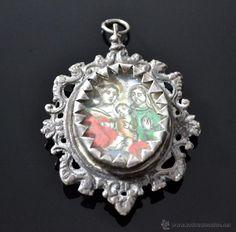 Maravilloso relicario medallón en plata en dos caras Litografía coloreada S.VXIII Virgen Maria - Foto 1