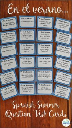 30 Spanish task cards with summer themed questions. Includes suggestions for use and response sheet. Spanish Lessons For Kids, Spanish Basics, Spanish Games, Spanish 1, Spanish Words, Learn Spanish, Speak Spanish, Spanish Language Learning, Teaching Spanish