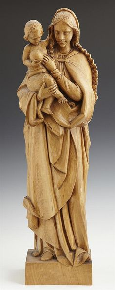 A. Erny, Madonna and Child, early 20th c., carved fruitwood statue (2' tall)