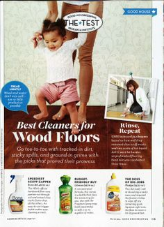 """Good Housekeeping magazine names Bona Hardwood Floor Cleaner as the """"speediest scuff-zapper"""" in their list of Best Cleaners for Wood Floors in March 2014."""