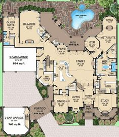 Talk about my dream home. Ceilings Abound - Floor 1 (The staircase adjacent the kitchen leads to a lower-level wine cellar) The Plan, How To Plan, Dream House Plans, House Floor Plans, My Dream Home, Floor Plans 2 Story, Large House Plans, Large Floor Plans, Construction Minecraft