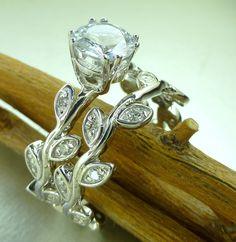 Leaf diamond engagement ring set.  14k gold, white sapphire center. $1,400.00, via Etsy.
