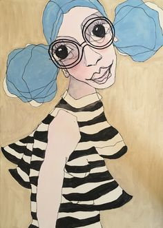 """Painted on canvas by Eva Kock """"The one with blue hair ondulation"""""""