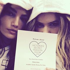 Pin for Later: We Have Your Backstage Pass to the VS Fashion Show And took lots of pictures together . . . Lily Aldridge and Behati Prinsloo