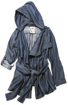 Denim hoodie coat / POPSUGAR Shopping: ファッションウォーカーピーチ・ジョン PJ/ デニムフーディコート