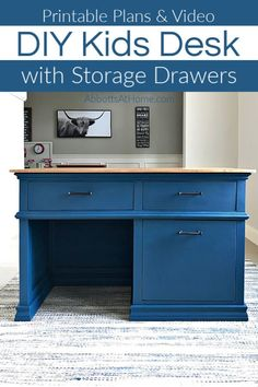Grab the printable Woodworking Build Plans for this beautiful DIY Kids Desk With Storage Drawers. Includes full build steps and build overview video to help you build your own. DIY furniture plan for a kids executive style desk. Woodworking Projects Diy, Woodworking Plans, Wood Projects, Craft Projects, Childrens Desk, Kids Play Kitchen, Desk Plans, Built In Desk, Diy Furniture Plans