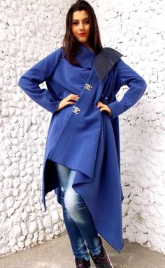 Asymmetrical Wool Coat / Extravagant Cashmir maxi Coat / Blue Petrol Asymmetrical Plus Size Coat TC17 / FALL WINTER 2014