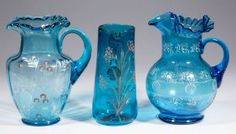 ASSORTED VICTORIAN DECORATED PITCHERS, LOT OF THREE