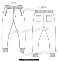 Jogger pants template - Flat