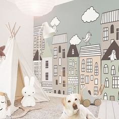 We just need to know the exact measure of your wall - Kinderzimmer Baby Bedroom, Baby Room Decor, Girls Bedroom, Baby Zimmer Ikea, Kids Room Murals, Playroom Mural, Kids Room Wallpaper, Baby Room Design, Pretty Room