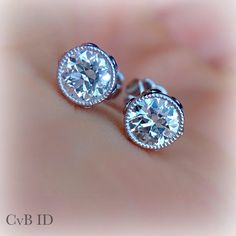 Platinum Bezel Set Filgree Earring Studs by CVBinspiredDesign