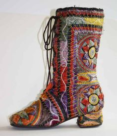 Boot worn by Josephine Barstow as Gayle in The Royal Opera production of 'The Ice Break' (1977), designed by Ralph Koltai. From: Costume Collection, Royal Opera House Collections. Source: Association of Performing Arts Collections (APAC)