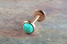 Or rose opale de feu vert lumière 16 jauge Cartilage oreille Tragus Monroe Helix Piercing vous choisir la taille de Pierre