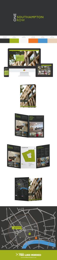 Produced for AOS Studley and Matthews & Goodman. The logo and colour palette were inspired and informed by the natural surroundings and geometric architecture of the property. A six page tri-fold brochure was created, including high quality imagery, such as a custom designed map of the surrounding area and a fully responsive website. Made by The Like Minded | www.thelikeminded.co.uk  #logo #design #green #clean #modern #gill #sans #one #vector #brochure #responsive #web #map