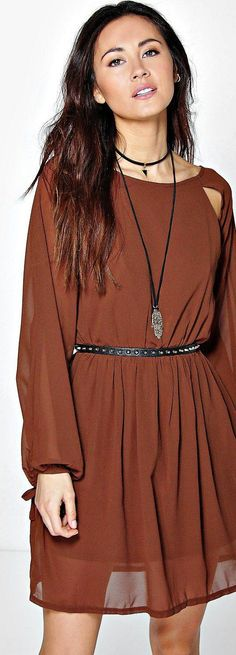 Claire Cut Out Sleeve Chiffon Skater Dress - Dresses  - Street Style, Fashion Looks And Outfit Ideas For Spring And Summer 2017