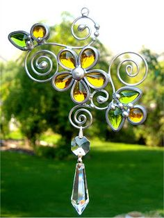 JasGlassArt - Original Designs in Stained Glass: Stained Glass Suncatcher with Vintage Glass