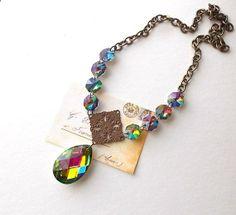 Super glam! Rainbow Vintage Chandelier Prism Necklace by ReneeLoughlinDesigns on Etsy, $72.00